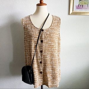W5 mustard yellow texture button front tank XL